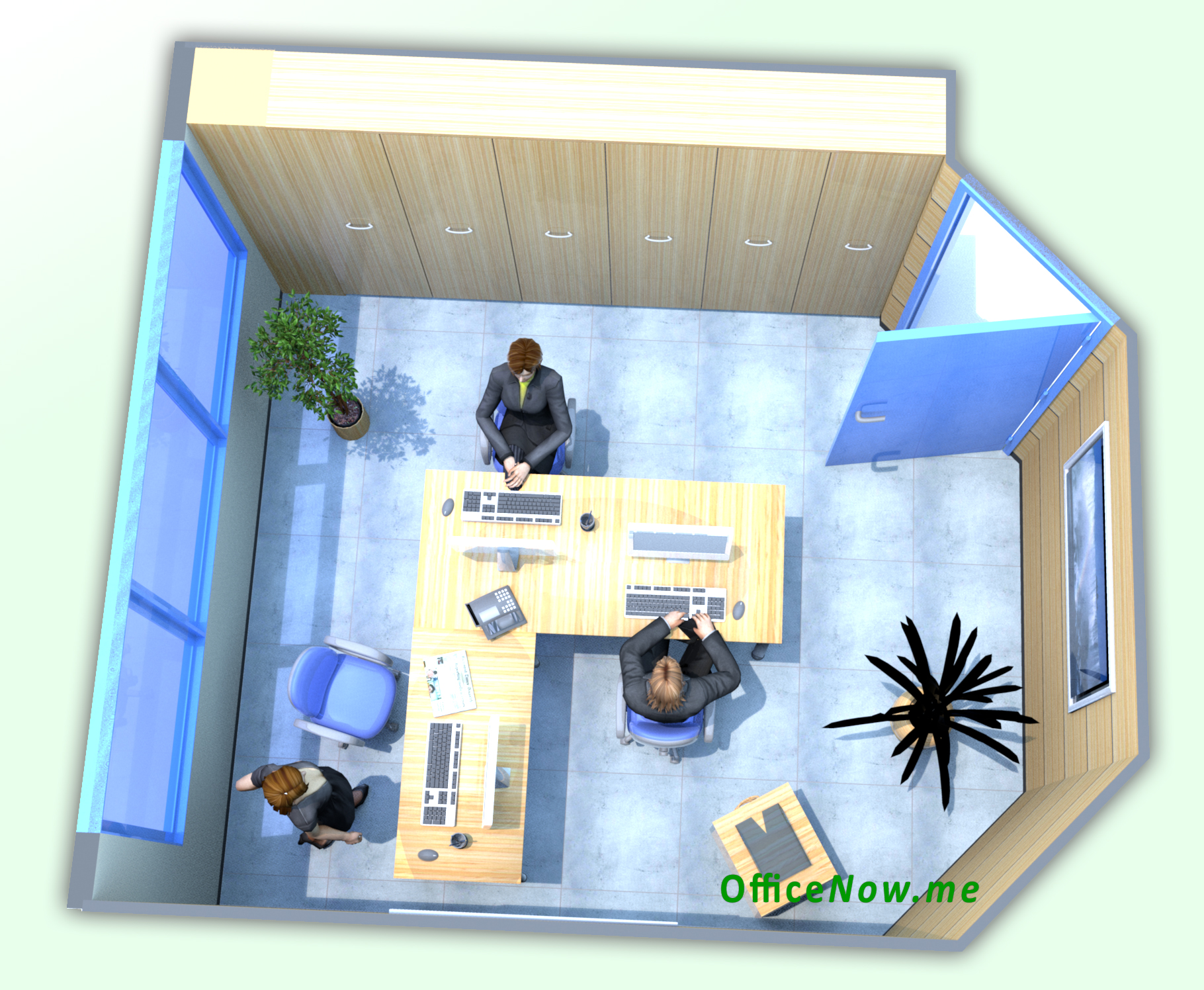 In Lombardia, Milano Malpensa: ufficio arredato, ampia scrivania a L, sedie operative con schienale alto, eventuale tavolino per ospiti, sedie per ospiti, cassettiera, ben 6 comode ante a parete per archiviazione.